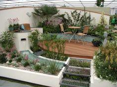 Beautiful small garden and deck! Modern Landscaping, Outdoor Landscaping, Small Gardens, Outdoor Gardens, Amazing Gardens, Beautiful Gardens, Landscape Design, Garden Design, Side Garden