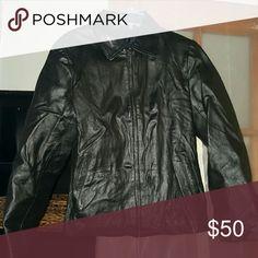 Black leather coat Real leather black coat size large Jackets & Coats