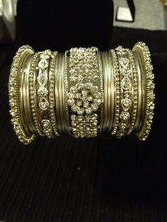 Indian jewelry - silver rhinestone 20 bangle set   HDaccessories
