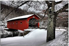 Arlington Bridge, Vermont  The covered bridge on VT 313 just to the west of Arlington, VT. This is the bridge you often see on Vermont calendars.