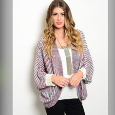 LAST ONE!! S/M This is a wonderful cozy multicolor knit sweater and features long sleeves ribbed trim, cocoon style and open front. The colors in this sweater are ivory. pink, and teal. Beautiful!! 100% acrylic. S/M or M/ L.  S/M - 1  Please comment size needed below.  PLEASE DO NOT BUY THIS LISTING. Allow me to make your separate listing for you or help you make a bundle ❤️.  NO PAYPAL NO TRADES. Price is FIRM unless bundled. Sweaters Cardigans