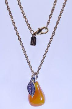 Designer Kenneth Jay Lane, FRUIT SALAD - Pear Pendant + Original Chain in…