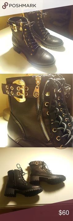 NWT Black & Gold Guess Combat Boots NWT, black combat boots, excellent condition, brand: Guess, buy them now before I return them! Guess Shoes Combat & Moto Boots
