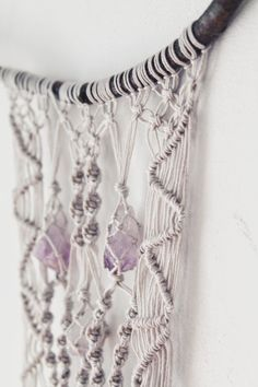 Macrame Wall Hanging With Amethyst Crystals  by KNOTinterior