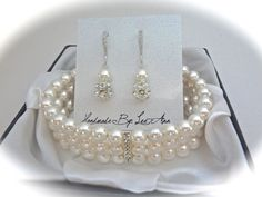 Bridal jewelry - Pearl bracelet and earrings set - 3 strands -  - Classy - Sterling silver ear wires - Formal jewelry -