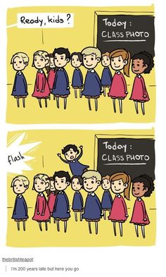 This... is... awesome! And can we talk about John being in front of the class with the most adorable smile...? And it looks like Molly is on his left, Moriarty is on his right, Mary is on Moriarty's right and Donovan is on Molly's left side... And Anderson is behind John and Moriarty with is stupid face. Goddammit Anderson!