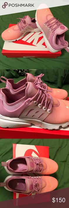 NIKE PRESTO WOMENS PINK/PURPLE/ORANGE Woman's Nike presto sneakers! Worn once!!! Pretty purple, orange and pink fade with a while sole. Original laces & how they were tied. Limited edition!! NO TRADES. Nike Shoes Sneakers