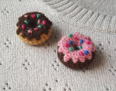 Crochet Donut Brooch - Choose One: Pink Glazed Chocolate Donut Amigurumi Pin - Chocolate Frosted Mini Donut Crochet Brooch Kawaii Crochet, Crochet Food, Crochet Yarn, Crochet Brooch, Crochet Earrings, Crochet Jewellery, Crochet Shoes Pattern, Crochet Patterns, Crochet Braids For Kids