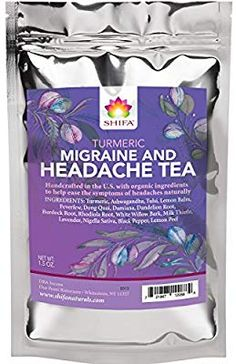 Shifa Turmeric Headache Relief Tea: Handcrafted with Herbs, Phytonutrients and Antioxidants.): Calming, soothing tea with Turmeric and herbs formulated to relieve headaches. Migraine Relief, Migraine Triggers, Migraine Diet, Chronic Migraines, Endometriosis, Fibromyalgia, Pain Relief, Sleep Tea, Headache Remedies