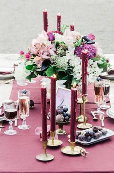 Plum and gold tablescape | Anais Stoelen Photography | see more on: http://burnettsboards.com/2015/01/plum-gold-rustic-chic-wedding/