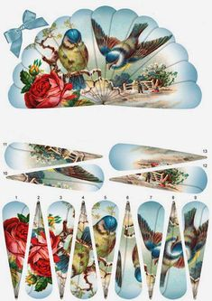 - This lovely fan has decoupage fan elements that overlap one another to create a beautiful image of bluebirds and roses again. Vintage Birds, Vintage Images, 3d Paper Crafts, Paper Crafting, 3d Templates, Decoupage Printables, Image 3d, Paper Fans, 3d Cards