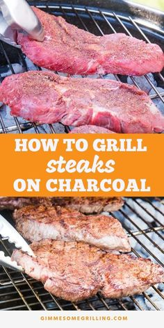 Tips and tricks for getting a perfectly juicy, tender and delicious steak using your charcoal grill! Learn how to grill a steak on a charcoal grill with the ultimate smokey flavor. Plus, a homemade rub that is out of this world! These are the BEST charcoa Grilled Steak Recipes, Grilled Meat, Grilled Steaks, Best Grilled Steak, Grilled Polenta, Grilled Chicken, Charcoal Grill Steak, Best Charcoal Grill, Charcoal Burger