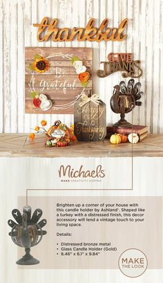 Thanksgiving is around the corner and #Michaels has everything you need to MAKE it unforgettable. Decorate your home in a palette of warm earthy hues with wreaths, #pumpkins, #walldecor and more. Whether your style is #rustic, #simple or uniquely #DIY, shop & MAKE #autumn complete with Michaels.