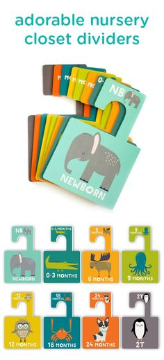 Arrange your baby's wardrobe in style with these super-cute animal-themed closet dividers. It's a simple way to organize the chaos and add a pop of color to your nursery décor.