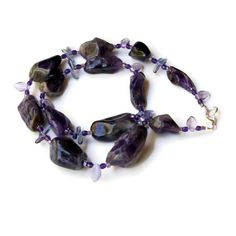 Long Chunky Purple Amethyst Statement Necklace/ by ALFAdesigns, $84.99
