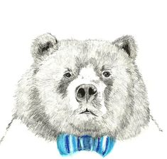 Mister Bear - Bear Illustration - Bear With Bow Tie. $20.00, via Etsy.
