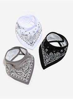 <p>Your baby is too cool to have to worry about dribbles and spills. These bibs meld fashion and function to make your baby look hip and stay clean at the same time. Set of three bibs double-layered for extra absorption, in black, white and grey. Soft hook and loop fastening tape closure.</p>  <ul> <li>Front: 100% cotton</li> <li>Back: 100% polyester</li> <li>Wash cold; dry low</li> <li>Recommended for children 0-2 years</li> <li>Imported</li> </ul>