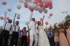 Pink & white balloon release