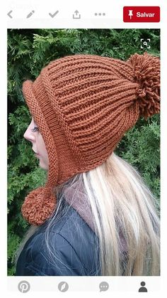 This Pin was discovered by Eva Earflap Beanie, Crochet Beanie, Crochet Yarn, Knitted Hats, Loom Knitting, Baby Knitting, Knitting Patterns, Bonnet Hat, Crochet Girls
