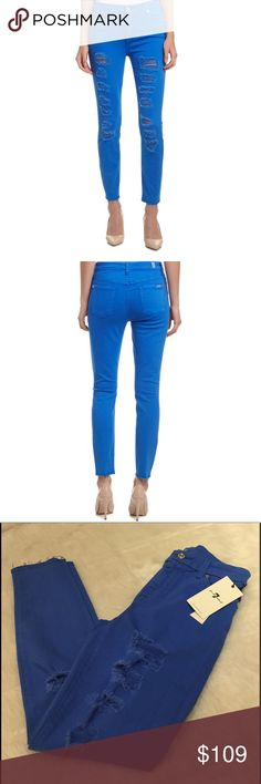 """NWT 7 FAM Slim Illusion High Waist Ankle Skinny Hard to find style and color! Amazing distressed ankle skinny jeans by 7 For All Mankind in Ultramarine.  Classic 5-pocket style.  Zip fly with button closure.  92% cotton, 6% polyester, 2%spandex.  Approx 27"""" inseam.  SOLD OUT ONLINE! 7 For All Mankind Jeans Ankle & Cropped"""