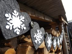 Christmas decor. Nordic. Snowflake garland.