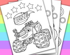 DIGITAL - INSTANT DOWNLOAD PRINTABLE COLORING PAGE This listing give you a series of 4 printable coloring pages of BLAZE AND THE MONSTER MACHINE. You can use these coloring pages for your children's birthday party, or a small party in the clas...