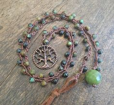 Tree of Life Jade Crochet Necklace Beach Boho by TwoSilverSisters, $26.00