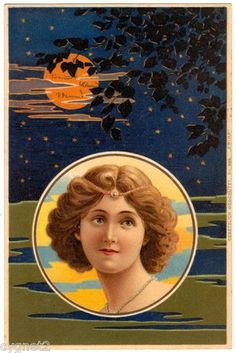 Postcard German Art Nouveau Woman and Night Sky | eBay