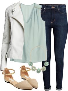 Alison Dilaurentis inspired outfit with a white leather jacket por liarsstyle usando silk blouses
