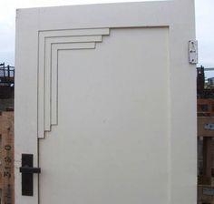 A rather unimaginative art deco door, but good idea. Just not well executed.