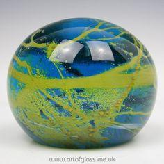 Mdina: large blue & ochre glass paperweight