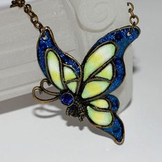 Hand Painted Butterfly Pendant Necklace in Dark by ArtMadeByTammy, $40.00
