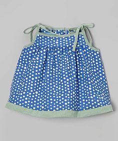Royal Blue Polka Dot Initial Tie-Shoulder Top - Infant & Toddler #zulily #zulilyfinds