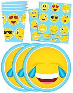 Emoji Birthday Party Supplies Set Plates Napkins Cups Tableware Kit for 16 ❤ Birthday Galore 10th Birthday, Birthday Parties, Birthday Ideas, Emoji Party Supplies, World Emoji Day, Party Packs, Childrens Party, Party Favors, Tableware