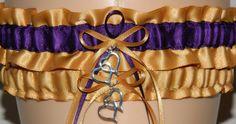 Gold and Plum/Purple Wedding Garter Set by WeddingGarterStore, $15.99