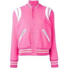 Saint Laurent Wool Teddy Jacket (2,795 BAM) ❤ liked on Polyvore featuring outerwear, jackets, pink, wool letterman jackets, varsity style jacket, snap jacket, pink letterman jacket and pink varsity jacket