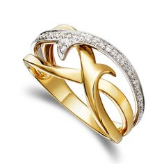 Peter Lam Diamond Scroll Milgrain Orbit Ring