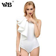 0782672f822d 2018 Brand Bodysuit Women Sexy Jumpsuit Romper One Piece Black White Long  Sleeve Draped Bodycon Elegant. Bodysuit FashionWomens ...