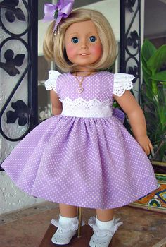 "Lace /& Pearls Purple /& Lavender Easter Dress 18/""  Doll Clothes Fit American Girl"