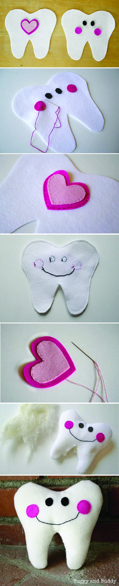 Celebrate National Tooth Fairy Day with your kids by crafting these adorable DIY  felt tooth pillows. Then next time they lose a tooth, have them place the tooth in the heart-shaped pocket for the tooth fairy to find! Click to see the full sewing tutorial complete with patterns and step-by-step instructions.