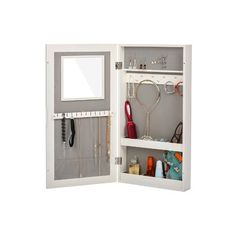 Winston Porter Garwood Over The Door Jewelry Armoire with Mirror Color: White Wall Mounted Jewelry Armoire, Jewelry Cabinet, Attic Closet, Hanging Necklaces, Storage Compartments, Vanity Set, Jewellery Storage, Contemporary Design, Doors