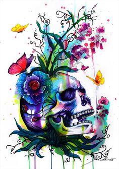 Colorful skull idea tattoo skull art, skull и skull tattoos Diamond Drawing, 5d Diamond Painting, Skull Tattoos, Body Art Tattoos, Tattoo Crane, Tattoo Caveira, Totenkopf Tattoos, Frida Art, Colorful Skulls