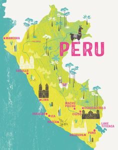 Map Of Peru / Illustrated Map / Travel Gift / Retro Map / Gift For Travelers / Backpacker / Peru Map Print / Peru Illustration / Llama Peru Travel, Travel Maps, Travel Posters, Travel Chile, Machu Picchu, South America Map, Travel Illustration, Flat Illustration, Travel Gifts
