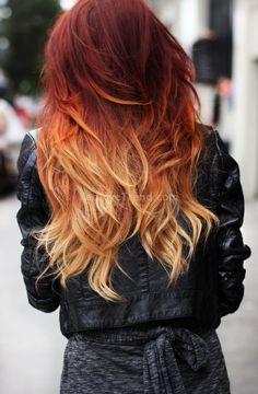 kırmızı kızıl ombre saç rengi