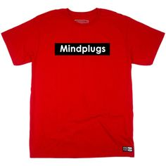 Classic Mind Plugs Red Graphic T-Shirt Featuring A White Font On A Black Rectangle Background | Tagless 100% Ringspun Cotton | Shop Mind Plugs Streetwear
