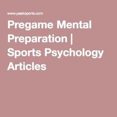 Pregame Mental Preparation   Sports Psychology Articles