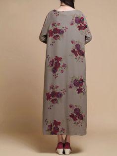 Spring print Loose Fitting Long Maxi Dress womens Robe by MaLieb