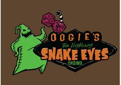 """TODAY'S TEE: Oogie Boogie in Las Vegas! """"Snake Eyes Casino""""! Designed by Baron Von Genius. 3 shirt colors. $11 only! For 24 hours! www.unamee.com."""