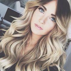 beautiful highlights & big loose curls