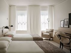 fabulous set up for twin beds- moulle lighting